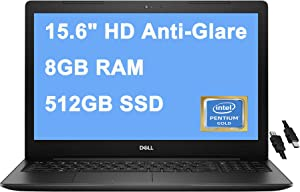 "Dell 2021 Flagship Inspiron 15 3000 3502 15 Laptop 15.6"" HD Narrow Border Display Intel Quad-Core Pentium Silver N5030 Processor 8GB RAM 512GB SSD USB 3.2 WIFI5 Win10 Black + iCarp HDMI Cable"