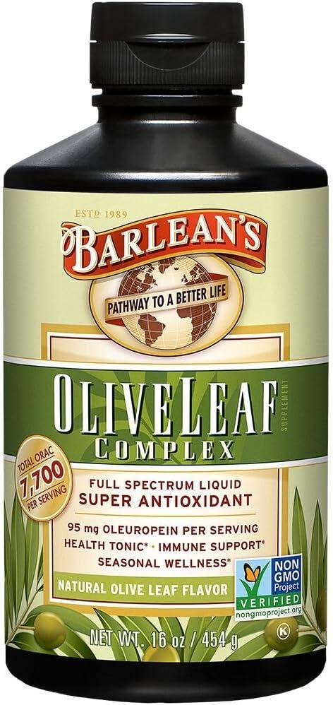 Barlean s Organic Oils Olive Leaf Complex Immune Support Liquid, 16 Ounce