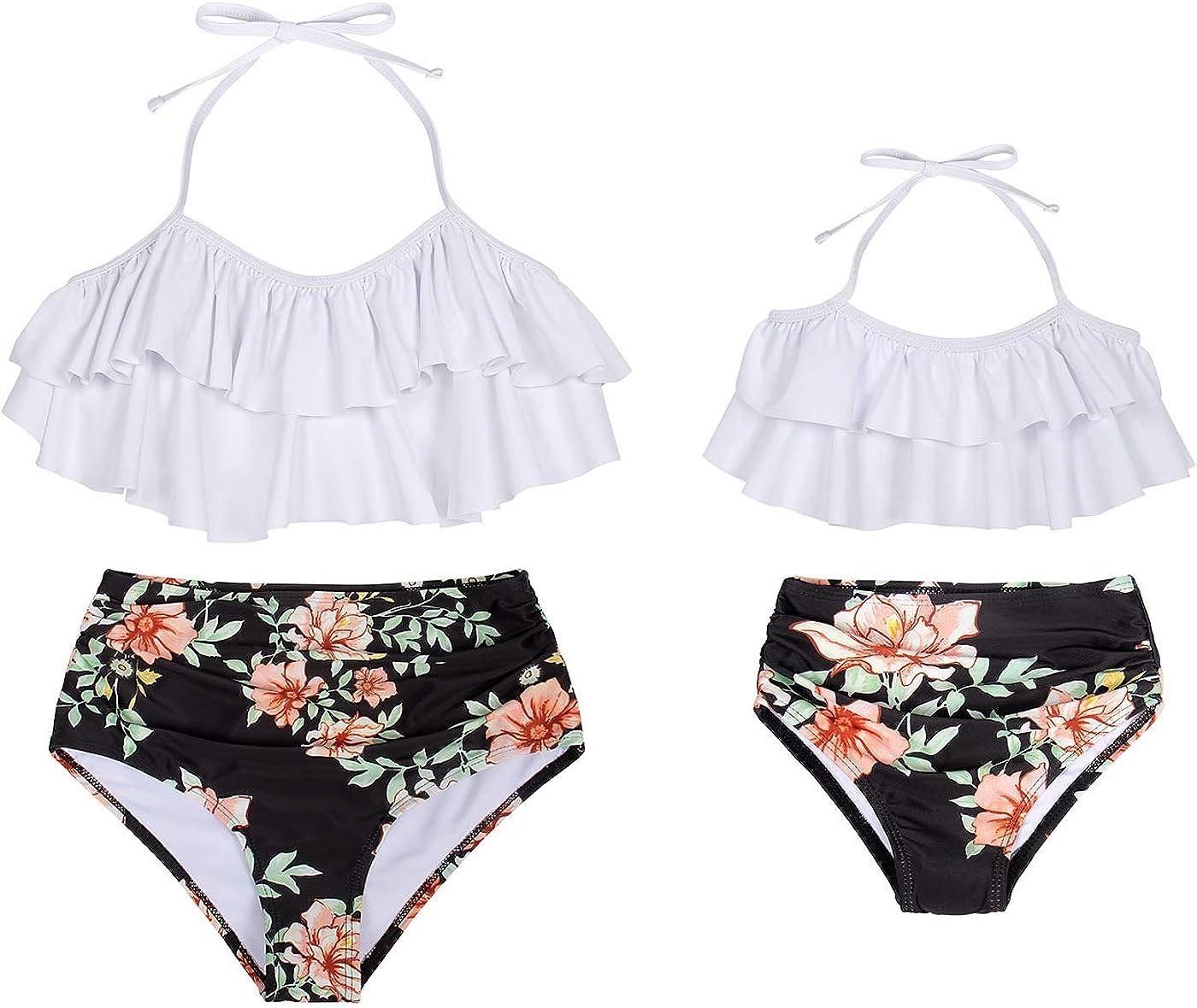 Jurebecia Family Matching Swimwear Two Pieces Bikini Set Printed Ruffles Mommy and Me Bathing Suits