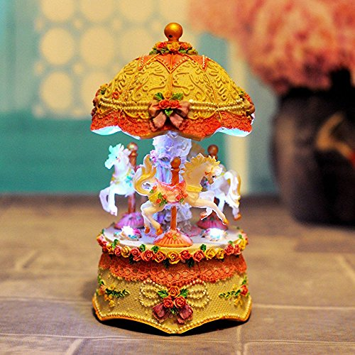 F.Dorla Rotation Carousel With LED Lamp Lighted Carousel Musical Box for Children Boys Girls Kids Birthday/Festival Gift Ideal (Yellow)