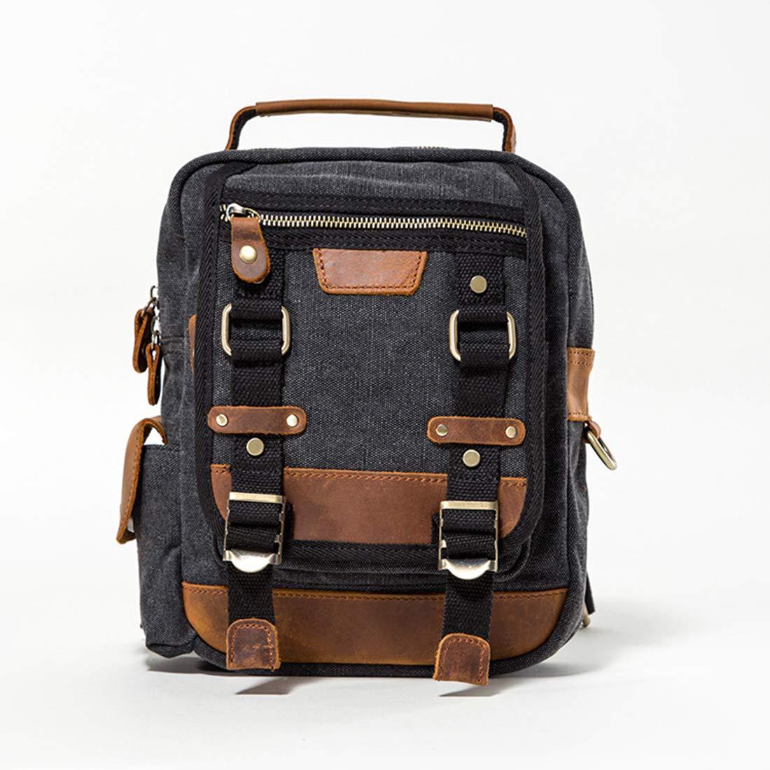 KRPENRIO Canvas Messenger Bag Cross Body Shoulder Sling Backpack Travel Hiking Chest Bag Color : Black