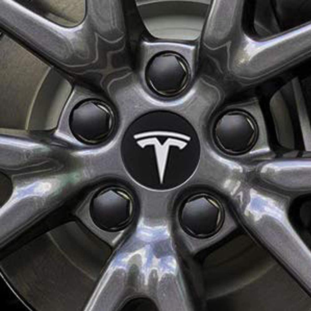 Tappo Centrale a 4 mozzi CONRAL Kit copriruota Aero per Tesla Model 3 Coperchio Dado 20 Alette Model S e Model X estrattore Coperchio Dado,Model-3-A