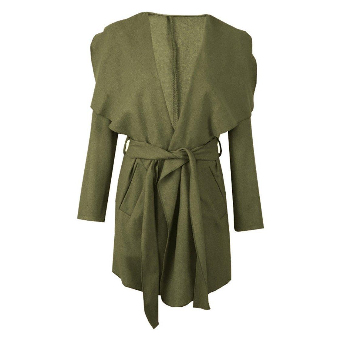 Mose Clearance Fashion Women Winter Long Sleeve Warm Long Coat With Belt (Green, S)