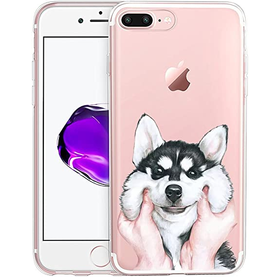 best loved 6a57a 553f0 Cute Puppy Dog Clear Phone Case for iPhone 8 Plus / iPhone 7 Plus  Customized Design by MERVELLE TPU Clear Shock-Proof Protective Case [Ultra  Slim, ...
