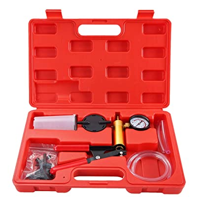 DASBET Hand Held Vacuum Pump Tester Set Vacuum Gauge and Brake Bleeder Kit for Automotive: Automotive