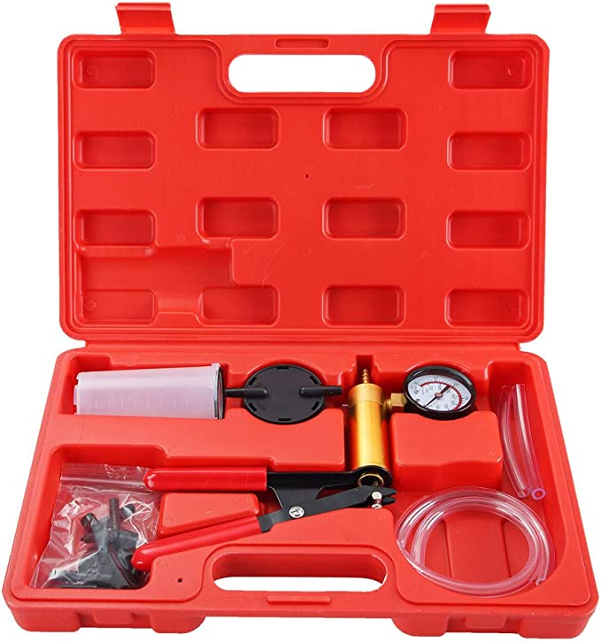 Tester Set Vacuum Gauge,for Automotive with Sponge Protected Case,Adapters,One-Man Brake,Clutch Bleeding System,Adapters Case-red Lucky Seven 2 in 1 Brake Bleeder Kit Hand held Vacuum Pump Test Set