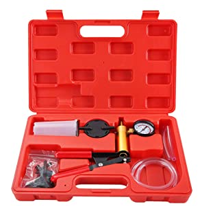DASBET Hand Held Vacuum Pump Tester Set Vacuum Gauge and Brake Bleeder Kit for Automotive