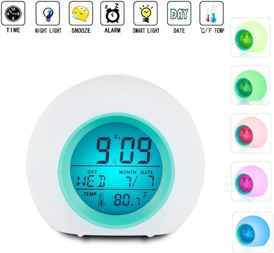 Despertador LED con luz de despertador con alarma de temperatura para niños adultos, niños pequeños, adolescentes, luz colorida junto con Melodie Natural Music, Send Nature Change 7 colores de colores