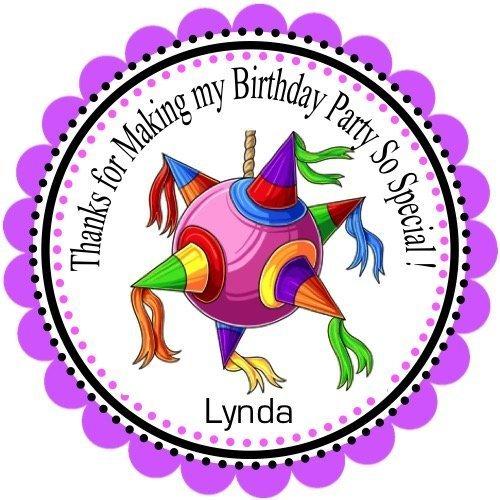 (40 Pinata Personalized Birthday Stickers 2