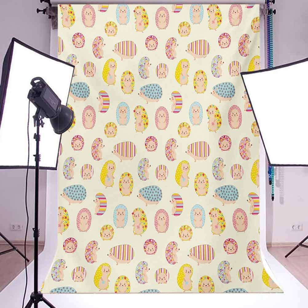Hedgehog 10x15 FT Photo Backdrops,Smiling Baby Characters with Dotted Floral and Striped Prints Kids Toddler Nursery Background for Baby Birthday Party Wedding Vinyl Studio Props Photography Multicol