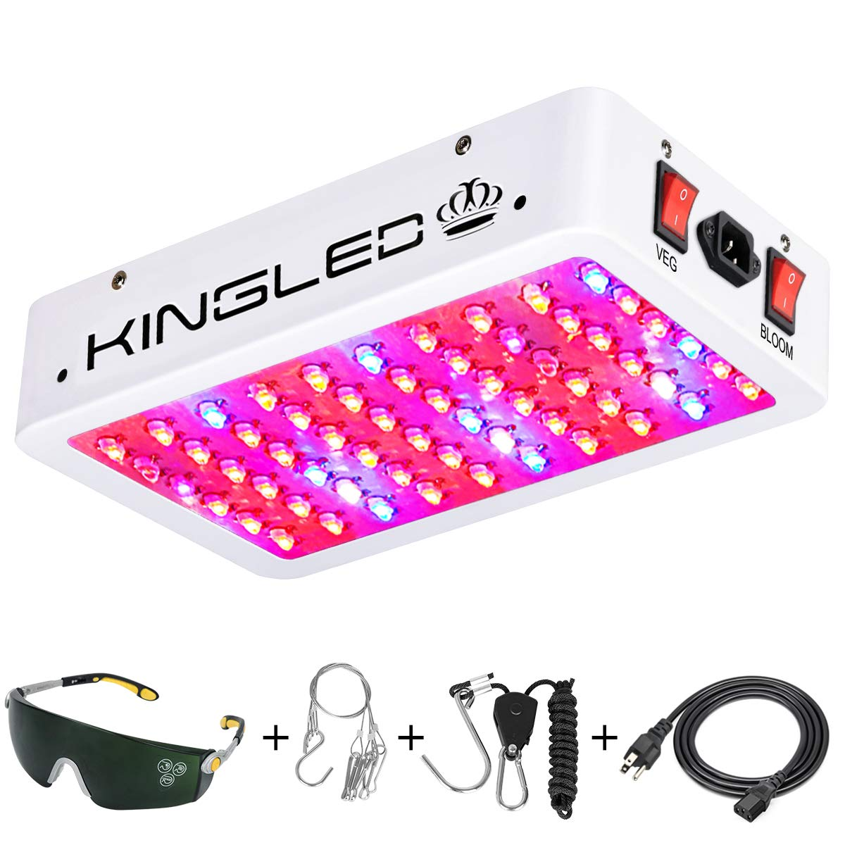 King Plus 600W LED Grow Light Full Spectrum for Indoor Plants Veg and Flower(Dual-Chip 10W LEDs 60Pcs) by KingLED