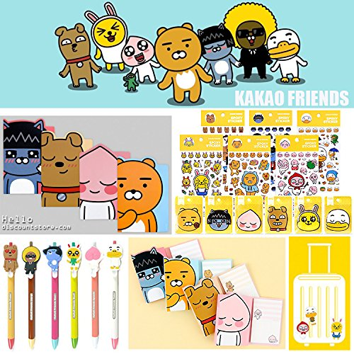 Friends Stationery - Kakao Friends Notebook Pen Sticker Sticky Memo Assorted Gift Set (5pcs / Random)