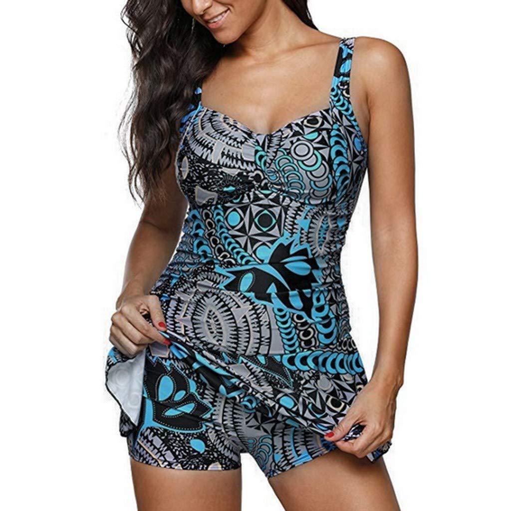 baskuwish Bikini Womens Retro Pattern ankinis with Shorts Racerback Tankini Two Piece Swimsuit Tummy Control Swimwear Blue