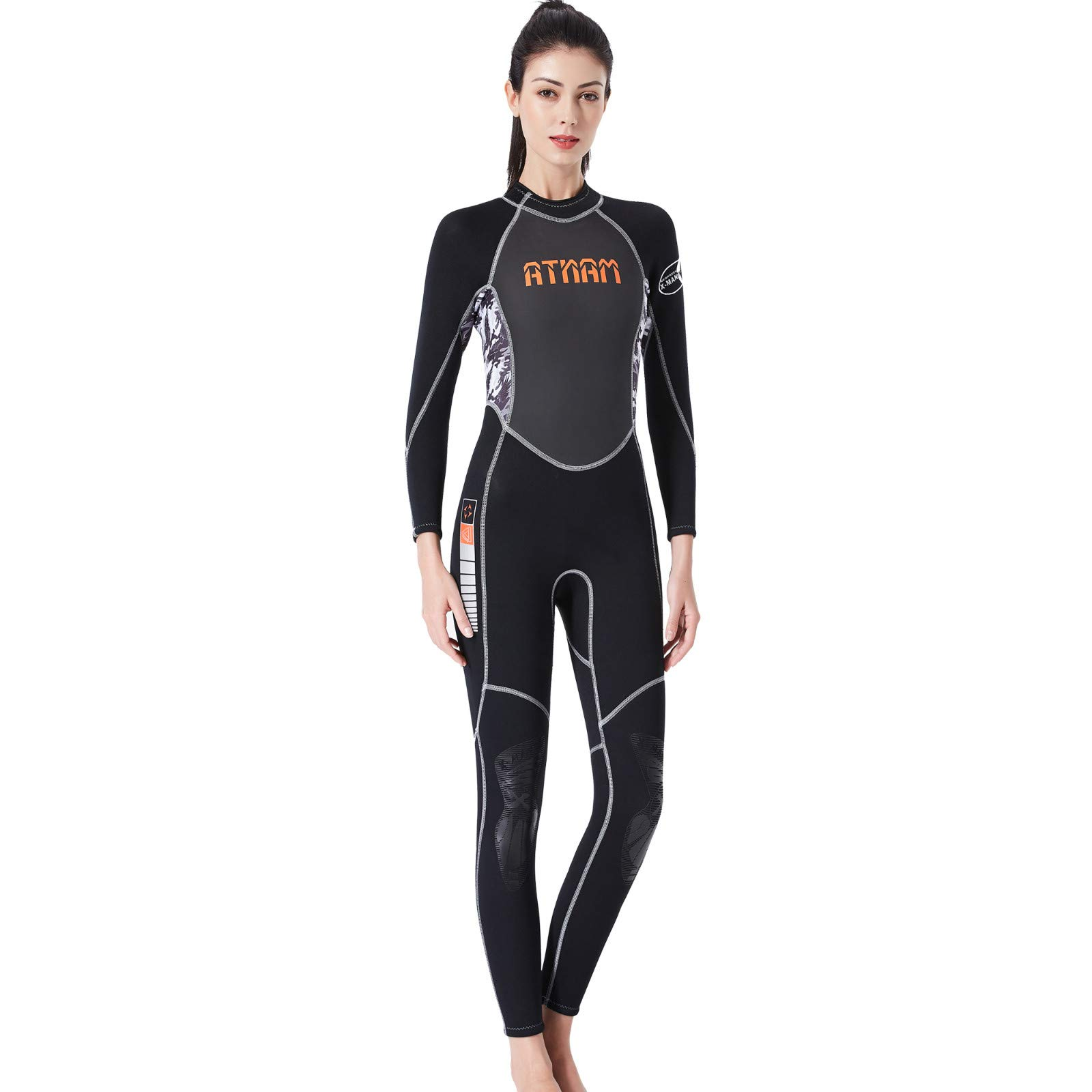 Tomppy Full Body Wetsuits for Women Keep Warm Sunscreen Printed Swimming Snorkeling Surfing Scuba Diving Suit Swimsuits Black by Tomppy