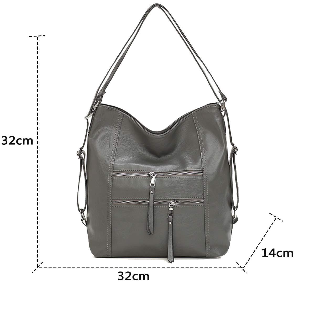 Coolives dam hobo axelväska handväska axelväska ryggsäck av läder Casual Daypack engångs GRÅ