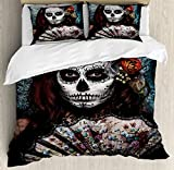 Ambesonne Day Of The Dead Duvet Cover Set, Make up Artist Girl with Dead Skull Scary Mask Roses Artwork Print, 3 Piece Bedding Set with Pillow Shams, Queen/Full, Cadet Blue Maroon