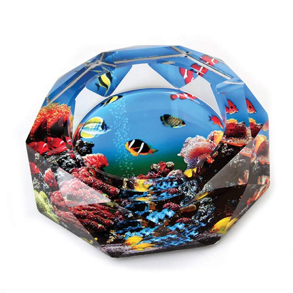 八角形クリスタル灰皿厚手のガラス卓上灰皿カラフルな水中世界プリントの喫煙者ホームオフィスデスクトップ装飾、直径15センチ (色 : L15 X W15 X H3 Cm, サイズ : -)  L15 X W15 X H3 Cm B07QYR59TL