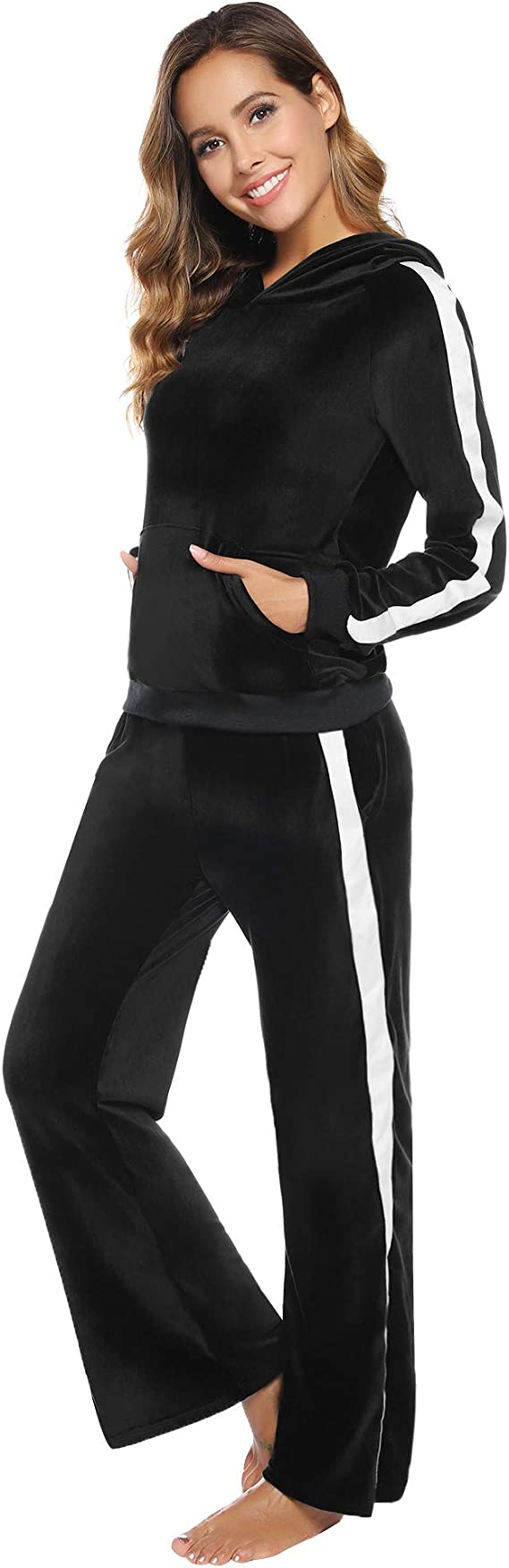 2 Piece Track Suit Set High Low Top and Bottoms Casual Loungewear Sweatshirt