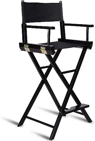 120KG Blitzzauber24 Chaise de Directeur Chaise de Maquillage Fauteuil de Metteur en Sc/ène Chaise Maquilleur Pliable en Bois avec 3 Sac Noire Charge Max