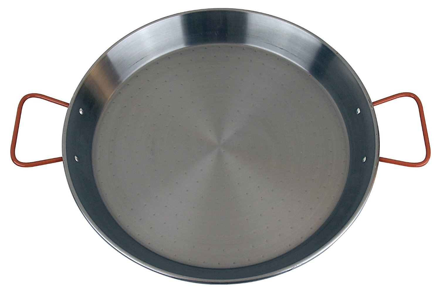 """Paella Pan 15"""" 38cm Carbon Steel, Red Handle, Made in Spain, by The Cook"""