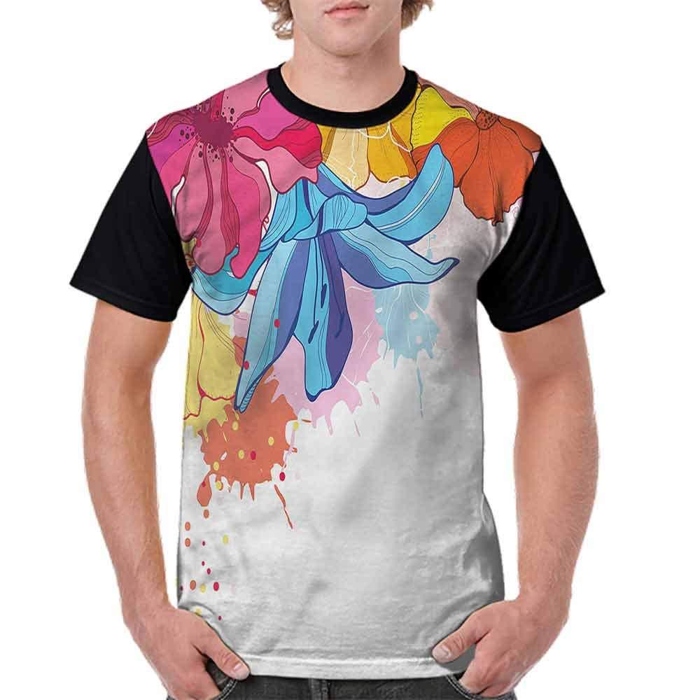 Unisex T-Shirt,Vibrant Flowers Bloom Fashion Personality Customization