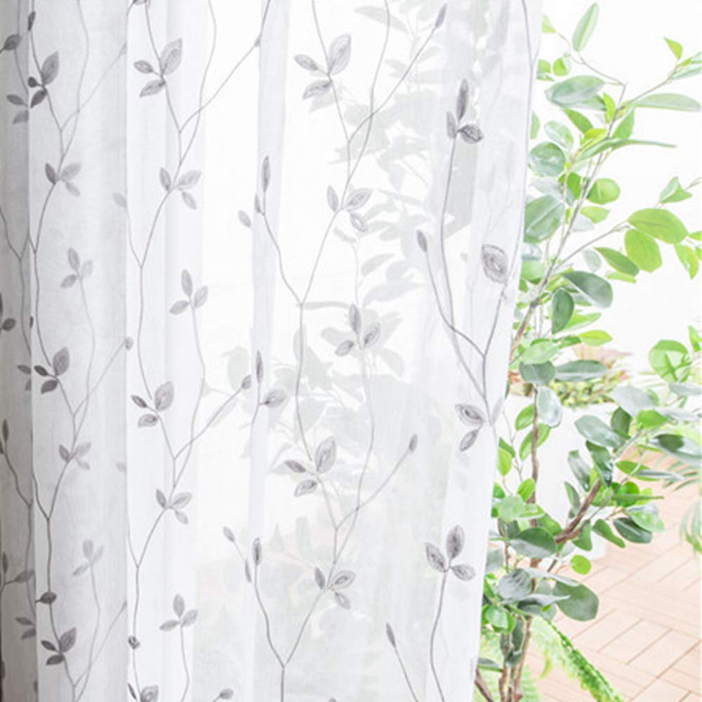 WINYY Gray Leaf Sheer Curtain for Living Room Embroidered Curtain Drape for Bedroom Kitchen Hotel Cafe Decorative Tulle Rod Pocket Top Voile 1 Panel (114 Inch Wide 84 Inch Long)
