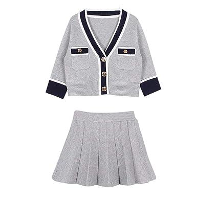 94d330776 CATSAP Pleated Skirt+Button Down Knitwear Long Sleeve Soft Knit Snap ...