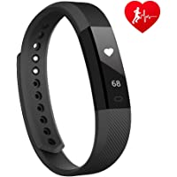 Lintelek Activity Tracker, Slim Fitness Tracker with Heart Rate Monitor, Step Counter Smart Watch with Sleep Monitor, Call/SMS Reminder Bluetooth Pedometer watch
