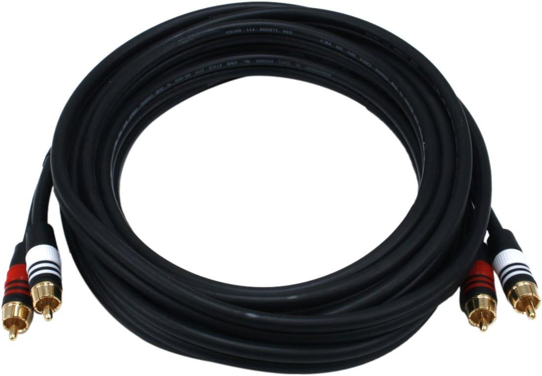 Black Monoprice 102868 50-Feet Premium 2 RCA Plug to 2 RCA Plug 22AWG Cable