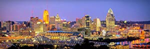 Cincinnati Skyline 2019 Photo Print UNFRAMED Dusk Color City Downtown 11.75 inches x 36 inches Photographic Panorama Poster Picture Standard Size