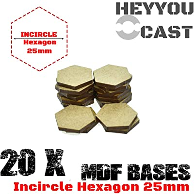 GRENFAS ( Set of 20 Pcs -MDF Bases - 25mm Incircle Hexagon Bases- Basing Laser Cut Wargames Wood: Toys & Games