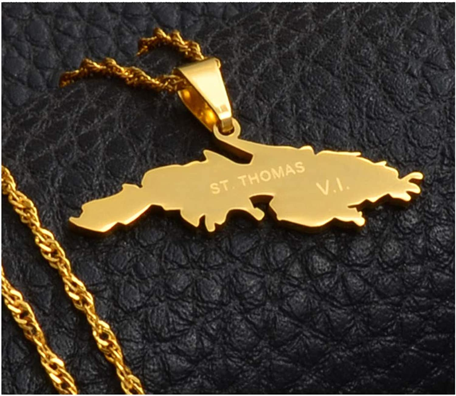 Thomas V.I Zoe-clothes-store Map Pendant Necklaces for Women Men St Charm Pendant Necklaces Gold Color Saint Thomas Island Map Jewelry Gifts