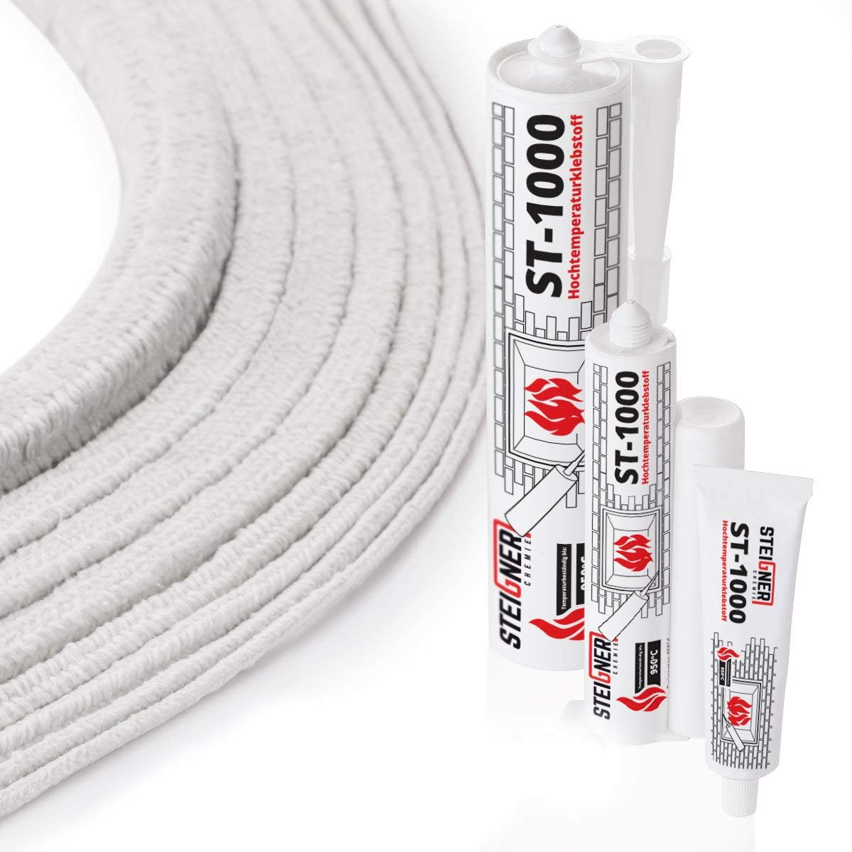 STEIGNER Cordone Isolante in fibra ceramica SKD01-8, con sigillante adesivo per montaggio termico resistente alla temperatura fino a 1260 ° C, 8x8 mm, 4 m
