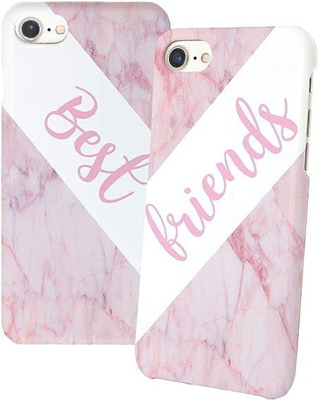 Best Friends Pink Marble Iphone Relazione Amicizia Accoppiamento Custodia Protettiva In Plastica Rigida Phone Case PerIil Migliore Amico iPhone 6, 6s, ...