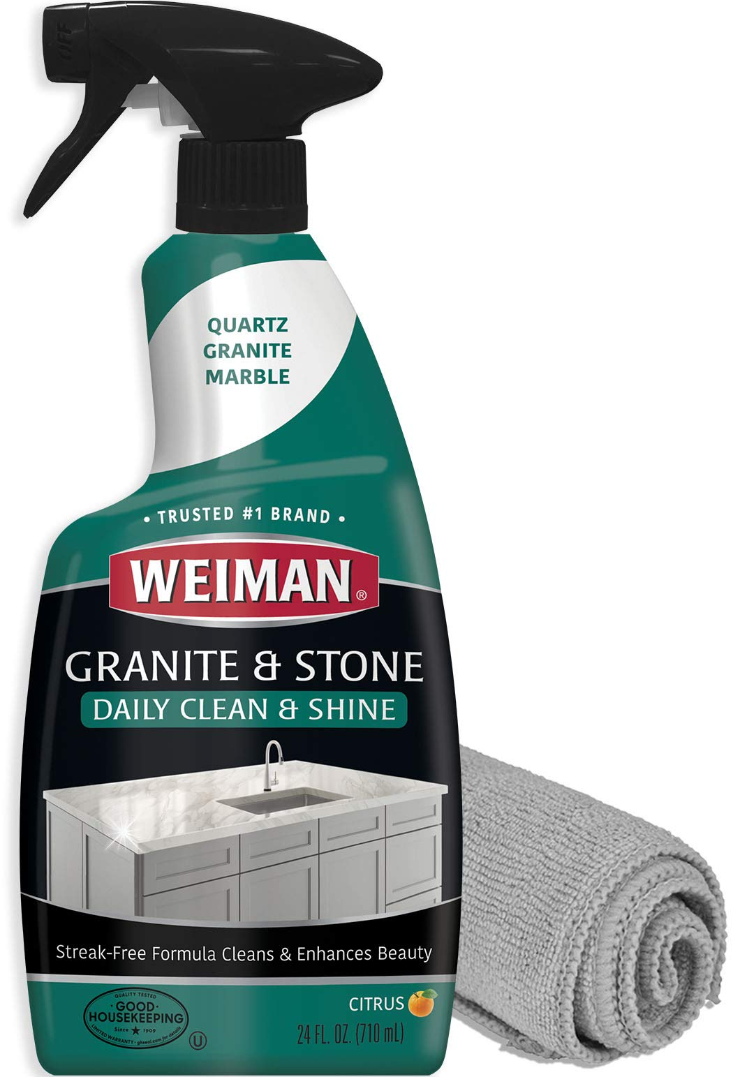 Weiman Granite Cleaner and Polish - 24 Ounce and Microfiber Cloth - Enhances Natural Color in Granite Quartz Stone and Marble by Weiman
