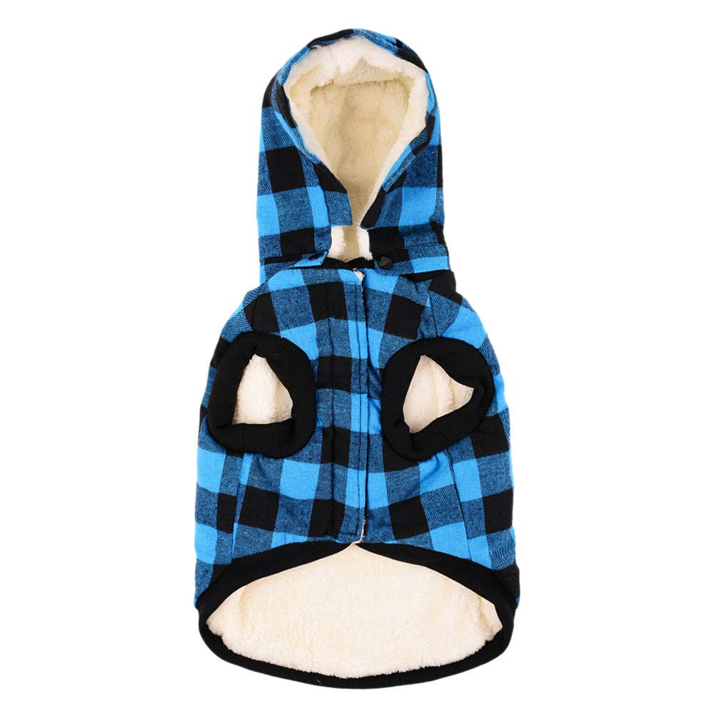 Pet Cat Dog Winter Warm Fleece Plaid Hooded Coat Removeable Cap Puppy Soft Sweater Jacket Pockets Costumes (Blue, X-Large)