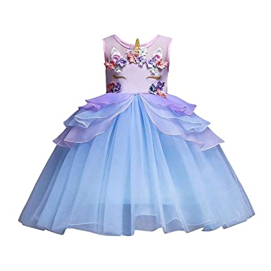 b922a0ba87c59 Junjie Chiffon Baby Kids Girls Crew Neck Sleeveless Three-dimensional  Applique Mesh Tutu Princess Dress, Ruffled Layers Unicorn Bridesmaid  Pageant Party ...