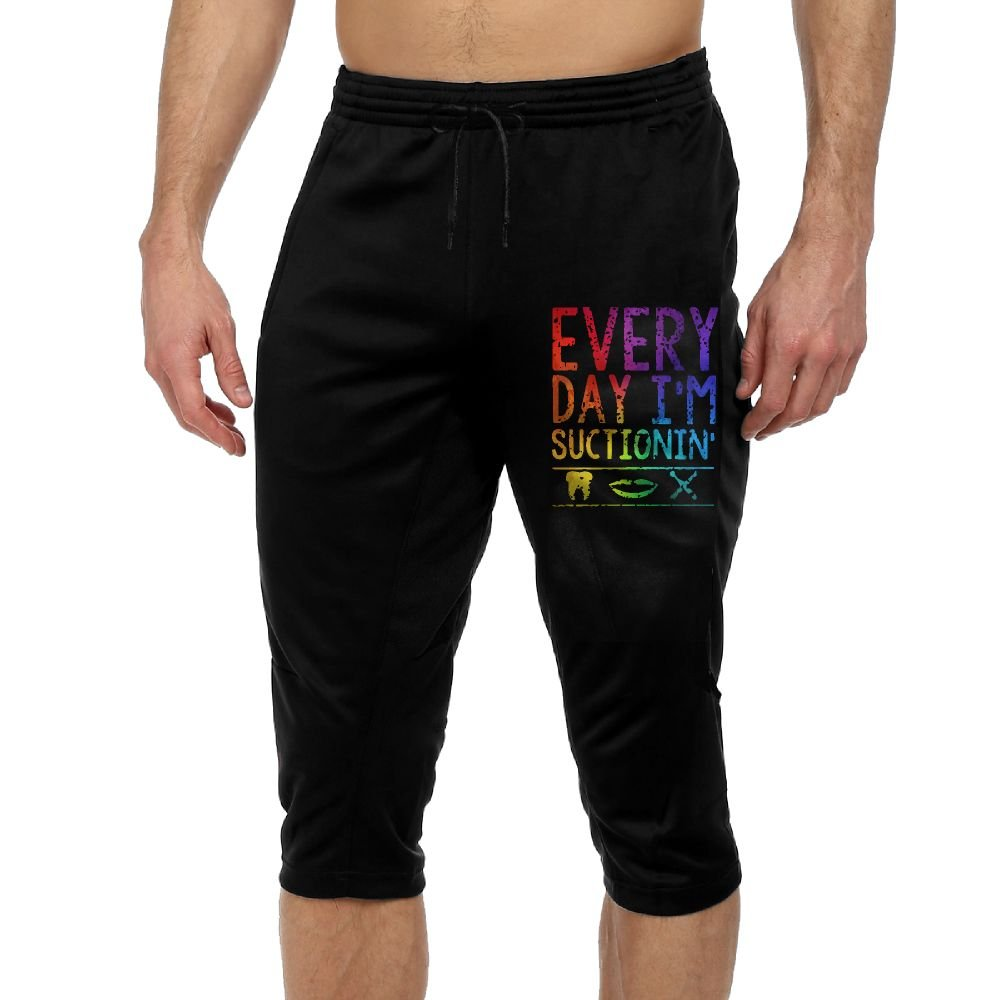BigManPants Every Day I'm Suctionin Exercise Men's Vintage Casual Durable French Terry Capri Pants by BigManPants