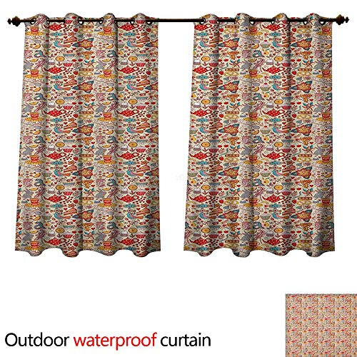 Tea Party Outdoor Curtain for Patio Colorful Abstract Motifs Birds Bunnies Pretzel Sugar Cubes and Flowers Pattern W63 x L72(160