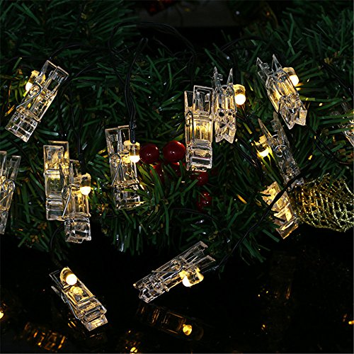 TechCode Chrismas Lights Kids, Waterproof Solar String Lights Indoor Photos Clip Holder Lamp Fairy Lighting for Hanging Artwork Picture Card Wedding Party Home Outdoor Wall Decorations (Warm White) by TechCode
