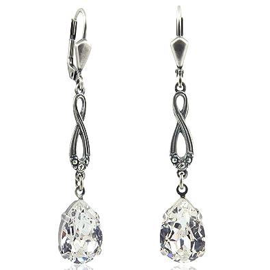 Modeschmuck ohrringe swarovski  Jugendstil Ohrringe mit Kristallen von Swarovski® Damen - Silver ...