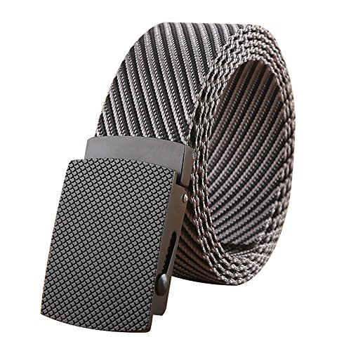 WYuZe Nylon Military Style Casual Army Outdoor Tactical Webbing Buckle Belt for Men (grey)