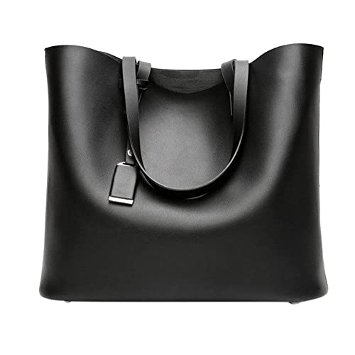 f2284bbfb42d Tomtopp Women PU Leather Fashion Handbag Retro Big Tote Shoulder Bag(Black)