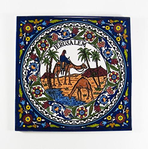 (Ceramic Wall Hanging Tile Armenian Handmade Hand Painted Tiles Vtg Crafted Holy Land Israel Jerusalem Desert View Decor Traditional Gift Art)