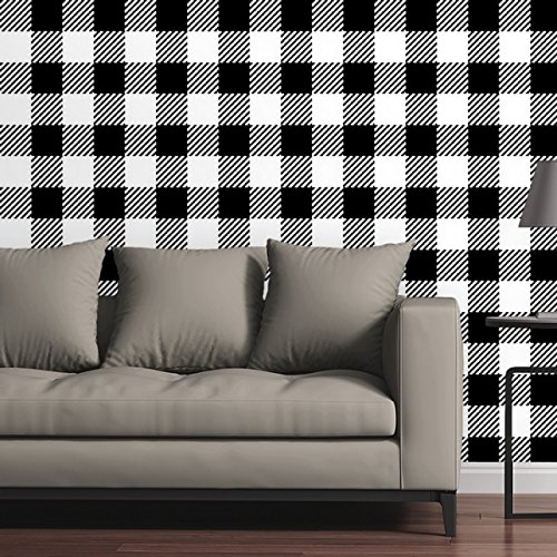 White Plaid Wallpaper (Canvas On Demand Removable Wallpaper Tile - Buffalo Plaid Tweed in Black and White)