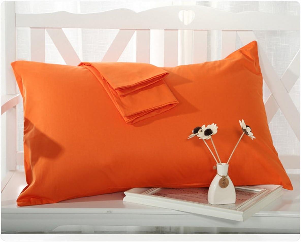 BLERA Funda de almohada de 300 hilos de algodón egipcio estándar de 2 piezas, sólido, naranja