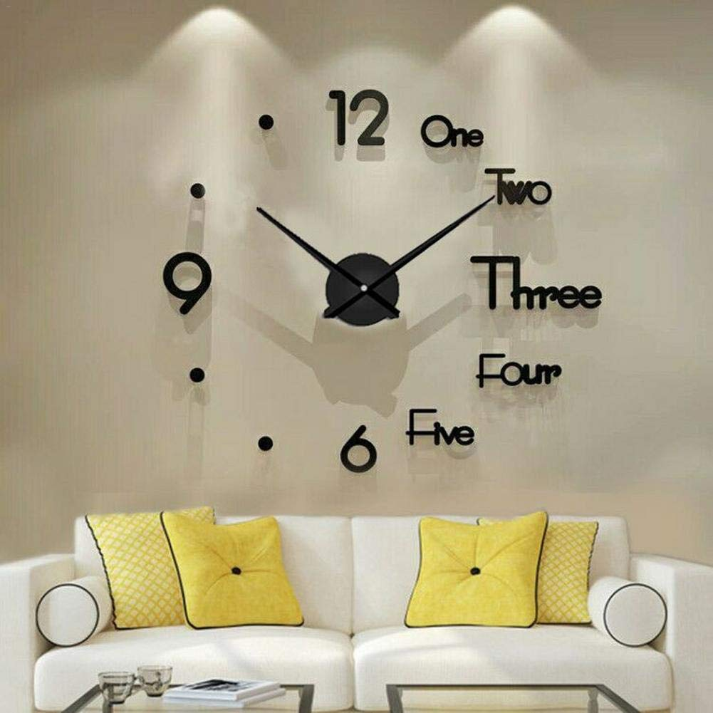 Wall Clock Frameless DIY Number 3D Mirror Sticker Modern Art Decal Decor UK new