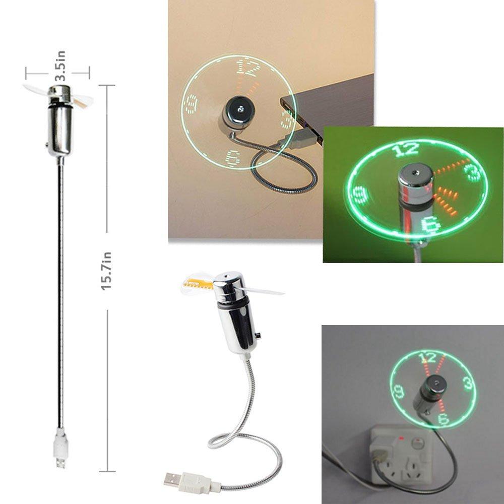 B2ocled USB Fan Led Clock Adjustable Gooseneck Flexible Portable Mini Fans