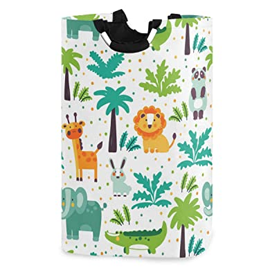 OREZI Wild Jungle Animals Lion Giraffe Elephant Laudry Basket, Waterproof and Foldable Laundry Hamper for Storage Dirty Clothes Toys in Bedroom, Bathroom Dorm Room : Baby