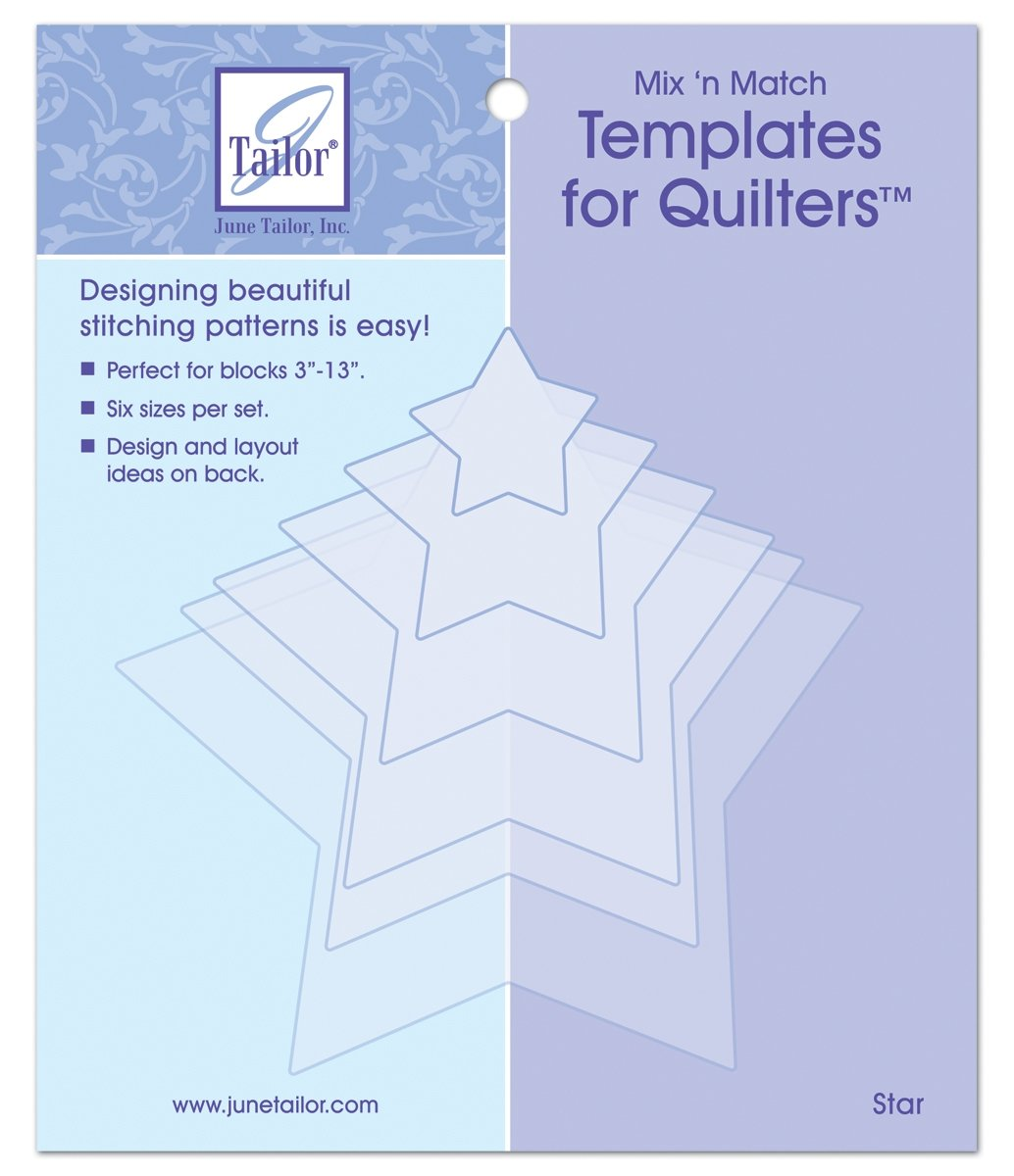 June Tailor Mix n Match Templates for Quilters Star Shape 6 Pack